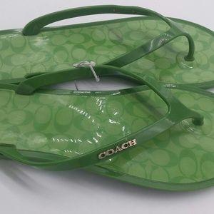 Coach size 8 flip flops green sturdy plastic